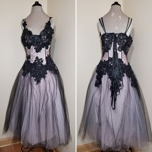 Vintage Lace Tulle Tea Length Corset Ball Gown